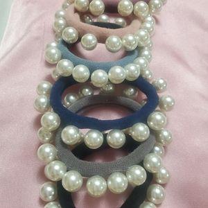 Bundle of Six (6) Pearly Hair Ties